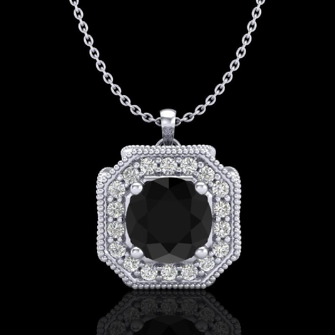 1.54 CTW Fancy Black Diamond Solitaire Art Deco Stud