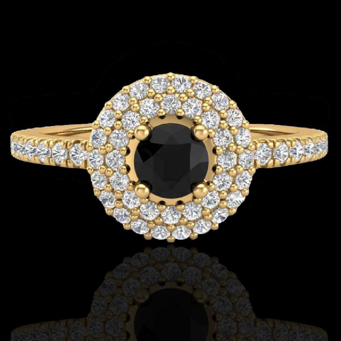 0.80 CTW Micro VS/SI Diamond Designer Ring 18K Yellow