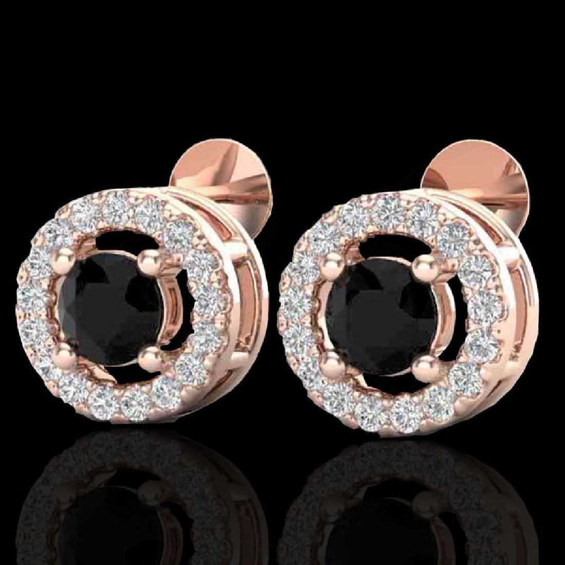 0.75 CTW Micro Pave VS/SI Diamond Earrings Halo 14K