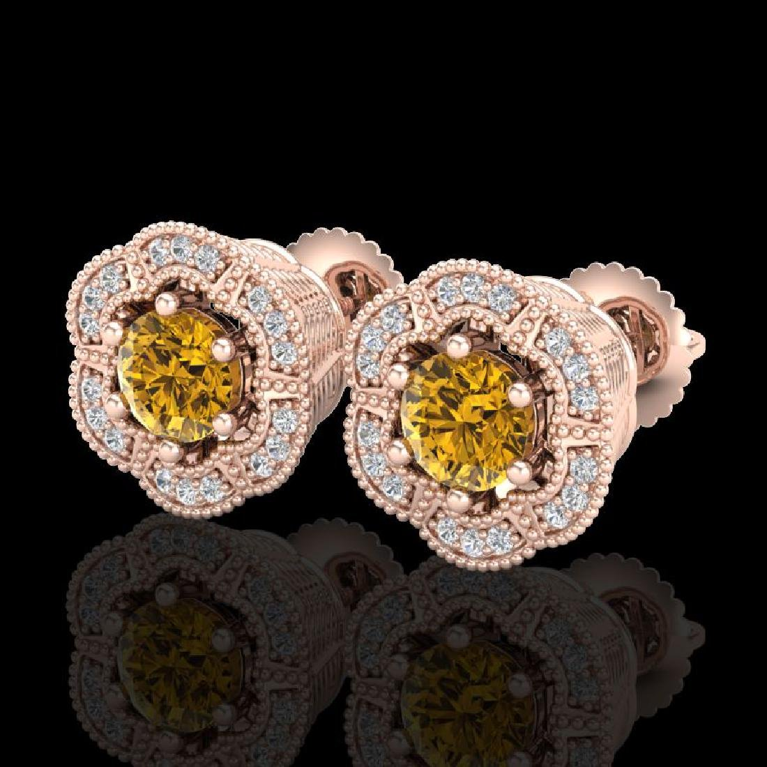 1.51 CTW Intense Fancy Yellow Diamond Art Deco Stud