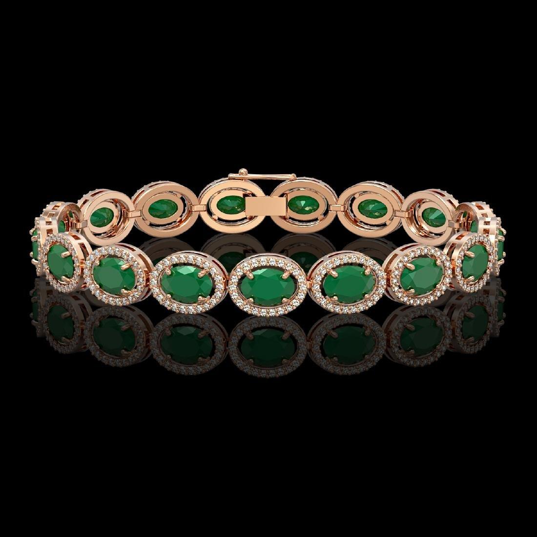 22.89 CTW Emerald & Diamond Halo Bracelet 10K Rose Gold