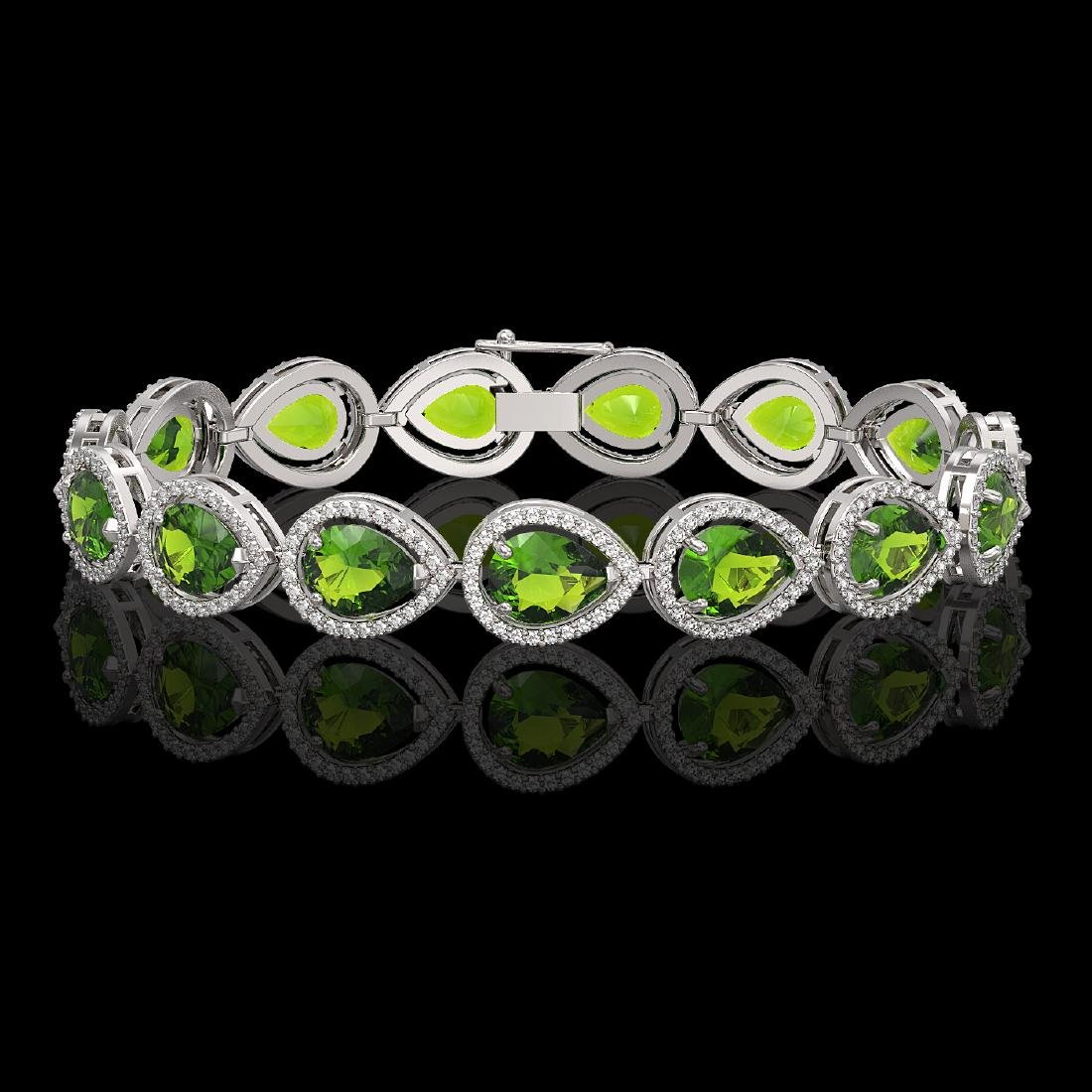 15.8 CTW Peridot & Diamond Halo Bracelet 10K White Gold
