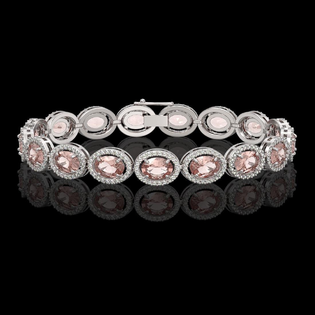 20.18 CTW Morganite & Diamond Halo Bracelet 10K White