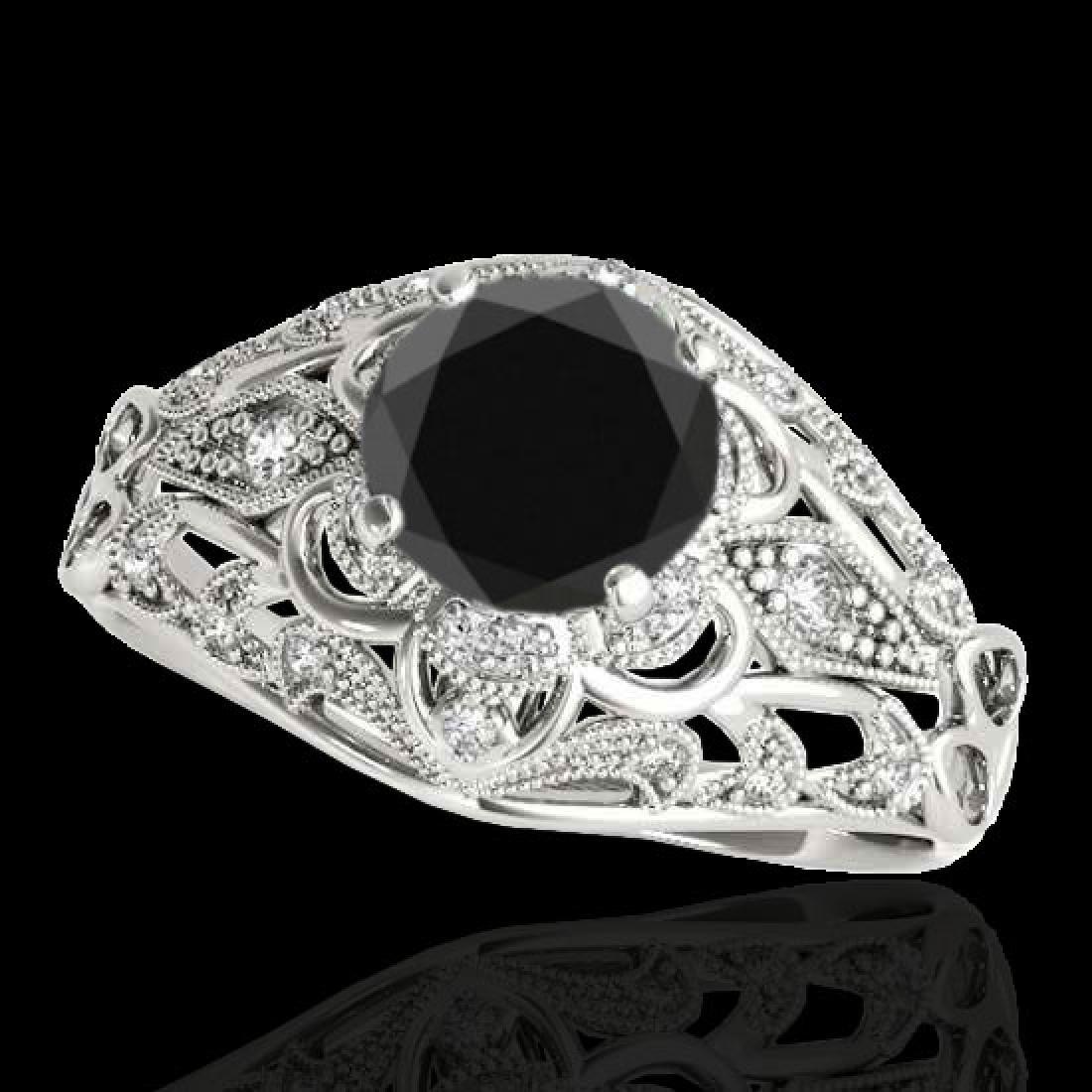 1.36 CTW Certified VS Black Diamond Solitaire Antique