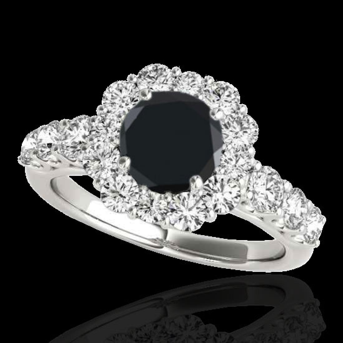 2.9 CTW Certified VS Black Diamond Solitaire Halo Ring