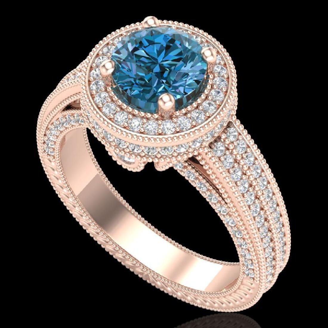 2.8 CTW Intense Blue Diamond Solitaire Engagement Art