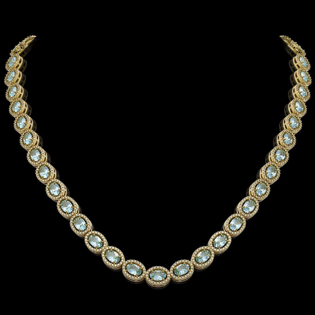 24.65 CTW Aquamarine & Diamond Halo Necklace 10K Yellow