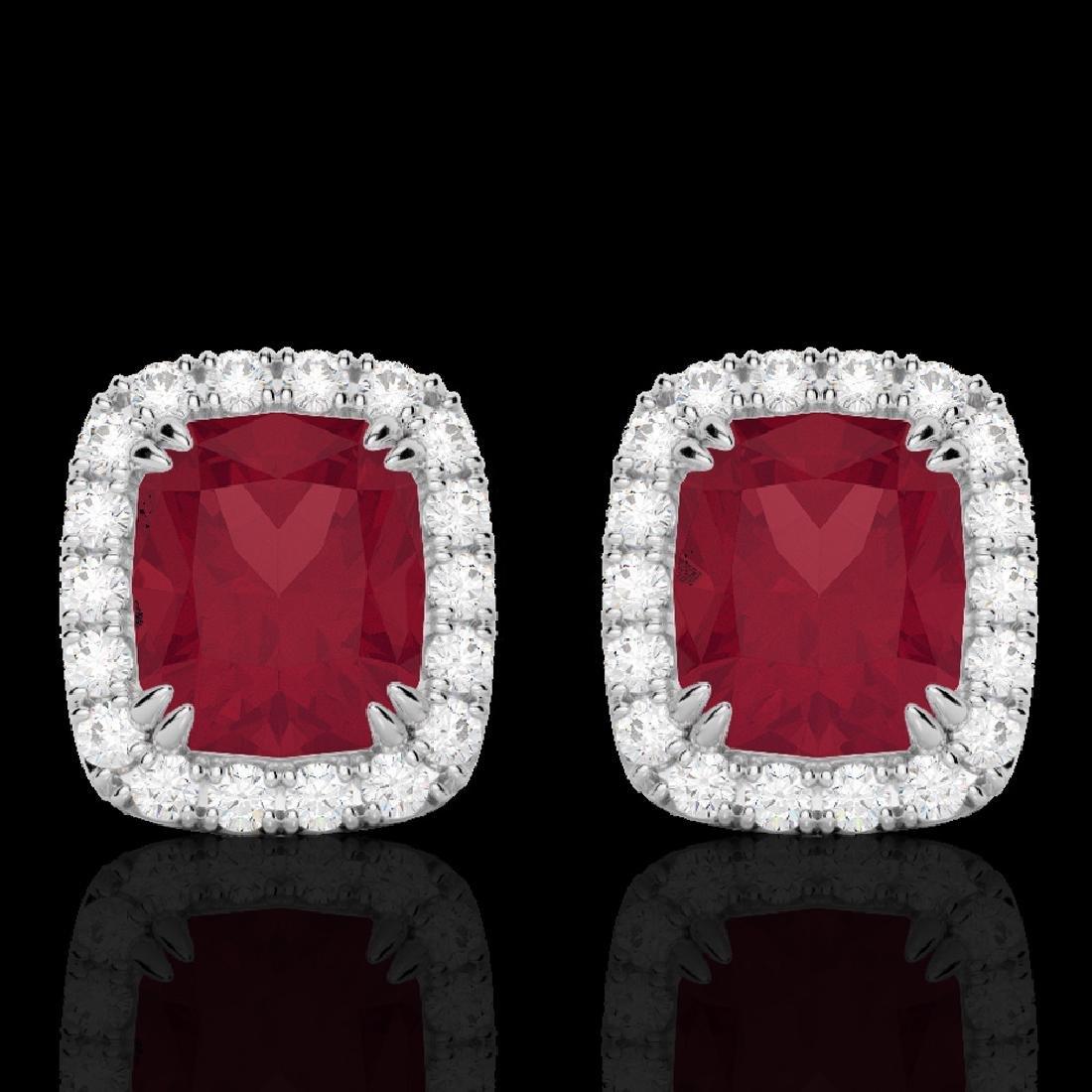 2.50 CTW Ruby & Micro Pave VS/SI Diamond Halo Earrings