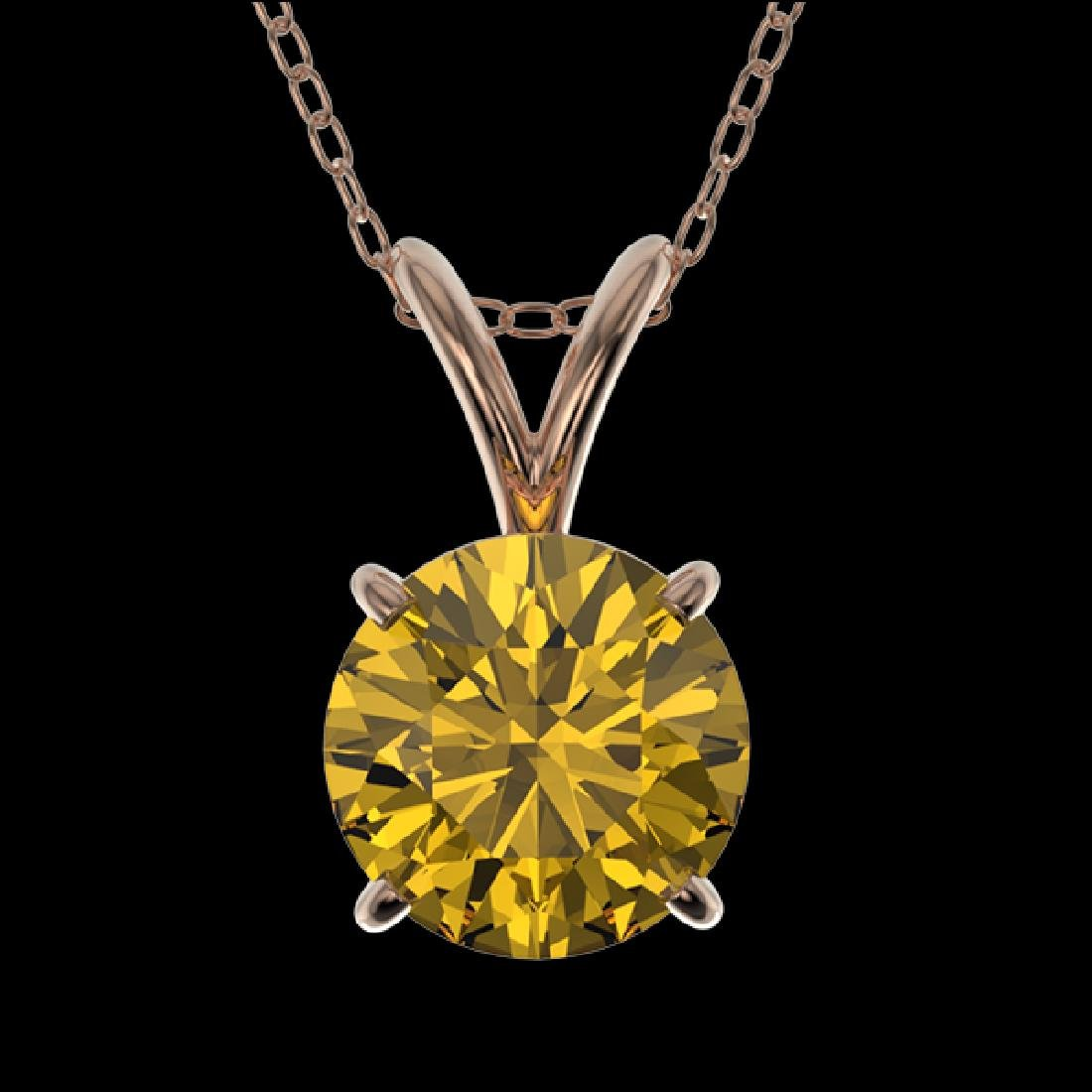 1 CTW Certified Intense Yellow SI Diamond Solitaire