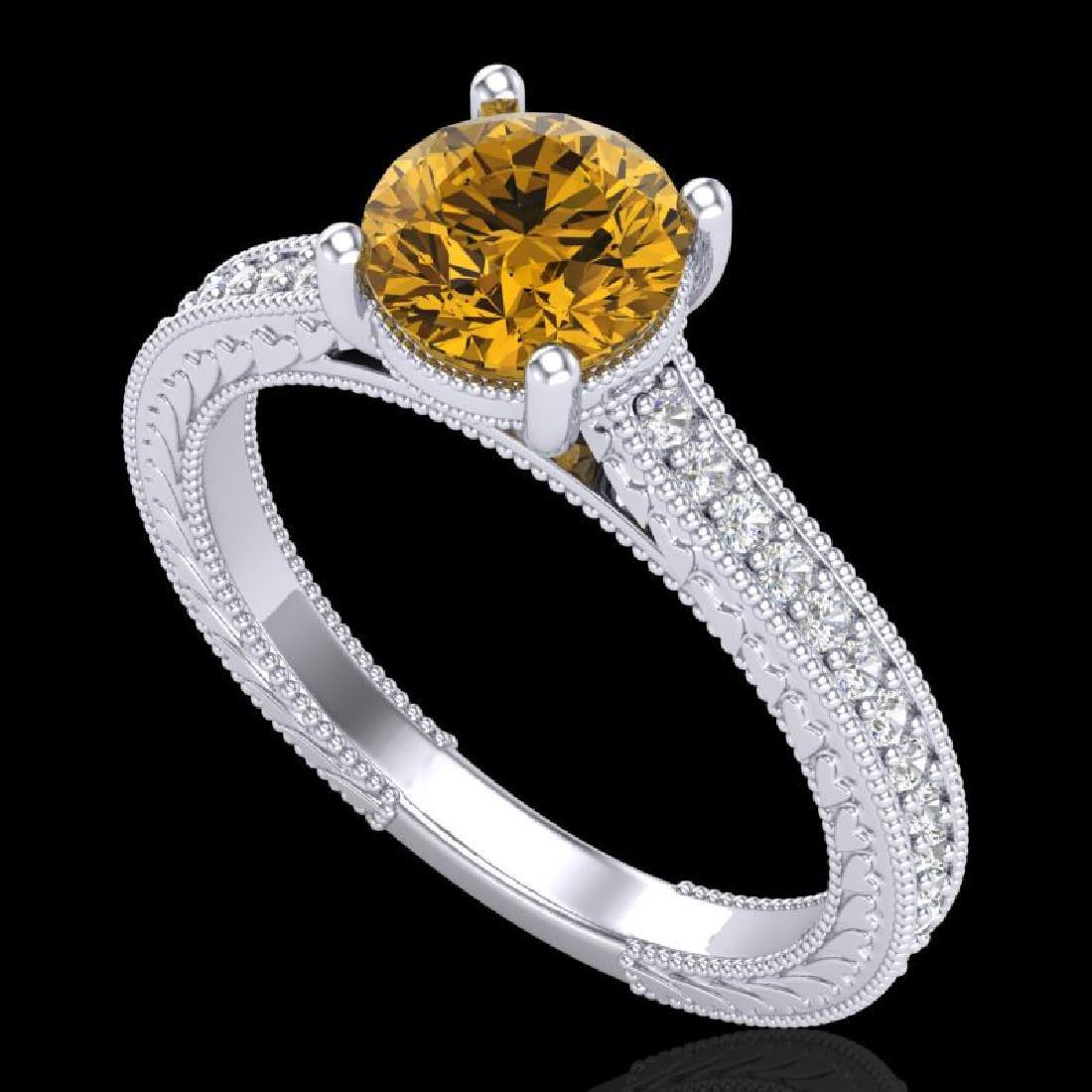 1.45 CTW Intense Fancy Yellow Diamond Engagement Art