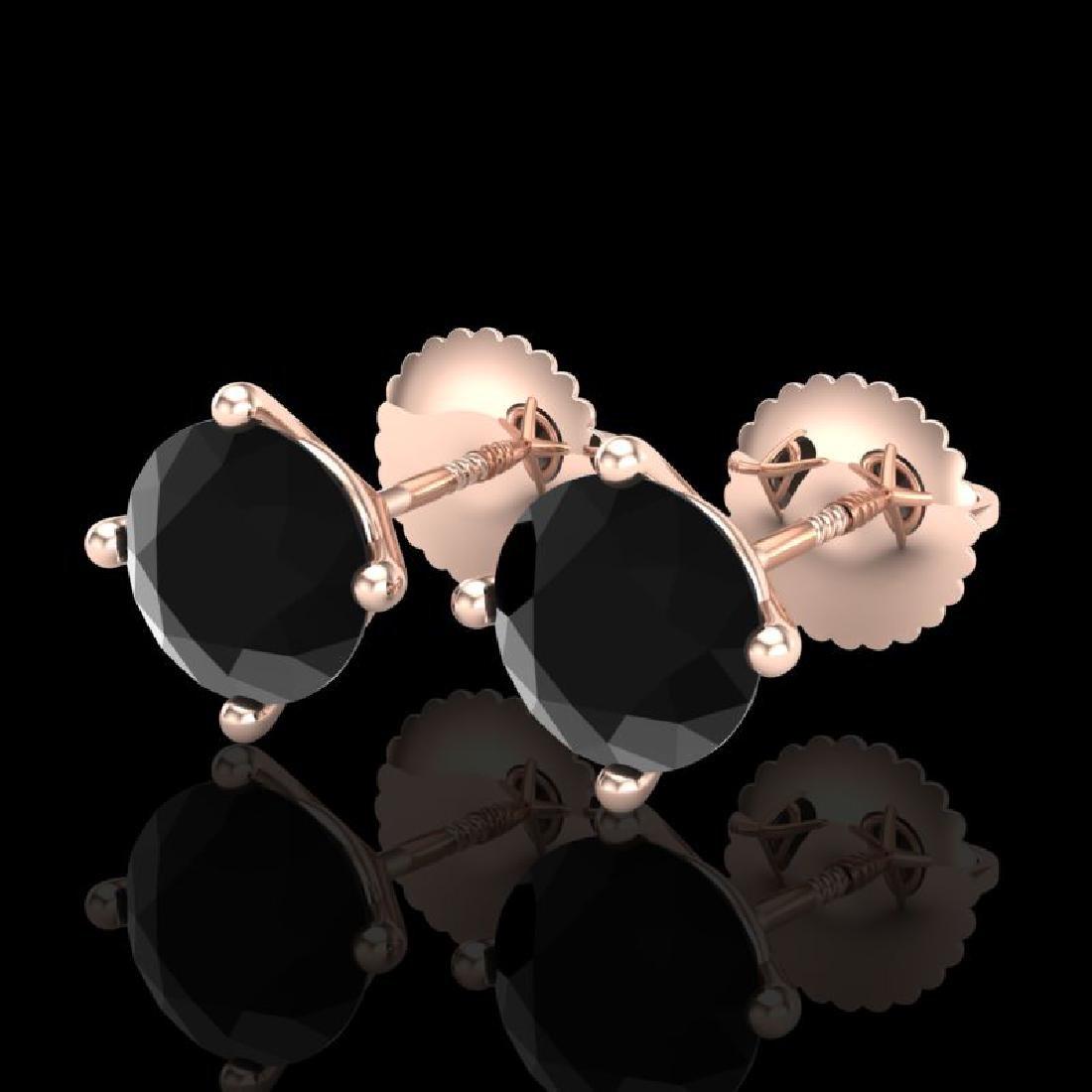 2 CTW Fancy Black Diamond Solitaire Art Deco Stud