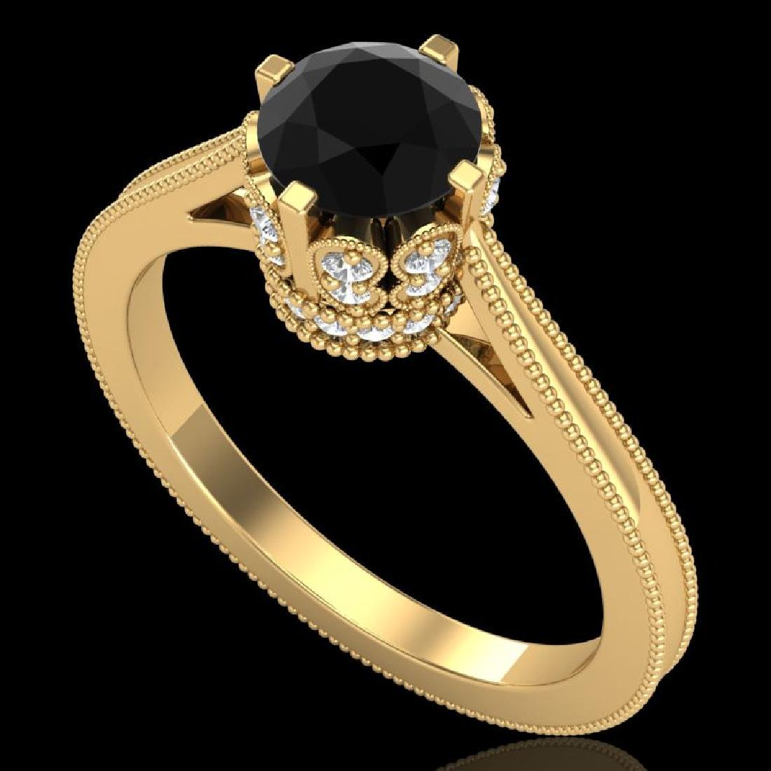 1.14 CTW Fancy Black Diamond Solitaire Engagement Art