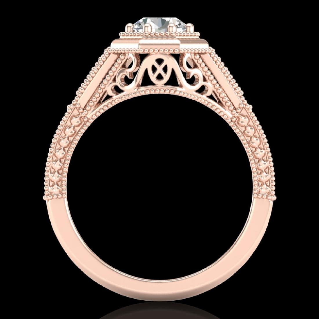 0.84 CTW VS/SI Diamond Solitaire Art Deco Ring 18K Rose