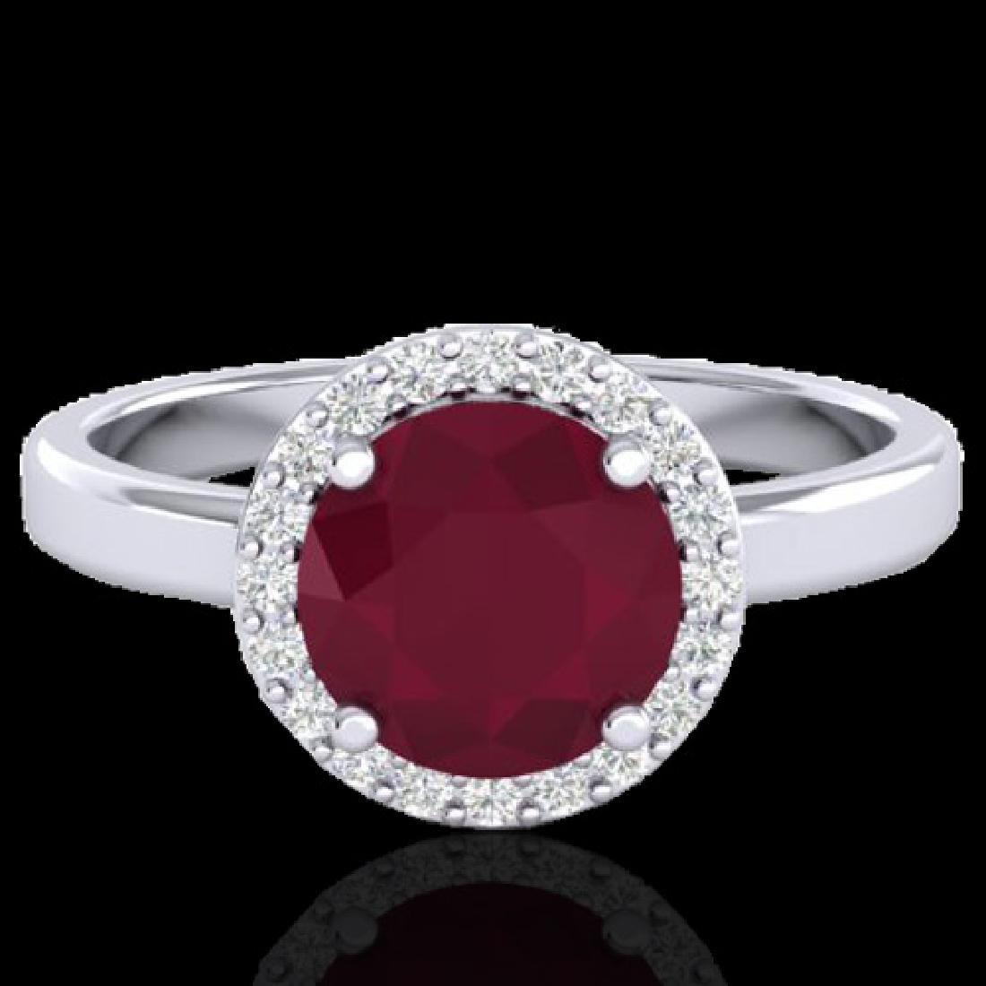 2 CTW Ruby & Halo VS/SI Diamond Micro Pave Ring