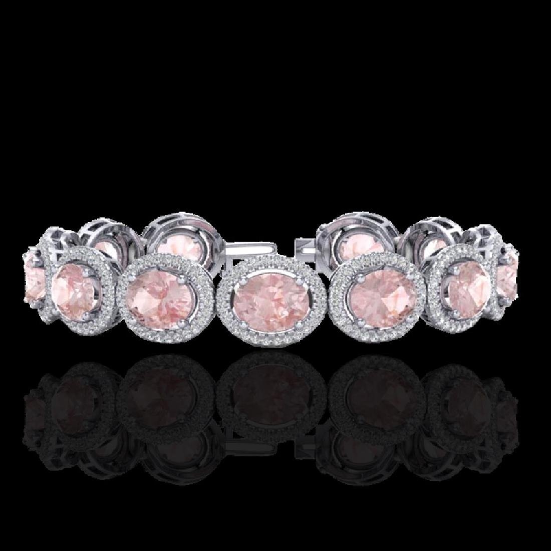 23 CTW Morganite & Micro Pave VS/SI Diamond Bracelet