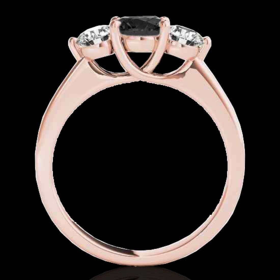 2 CTW Certified VS Black Diamond 3 Stone Solitaire Ring - 2
