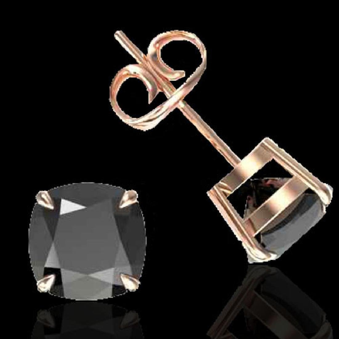 6 CTW Cushion Cut Black VS/SI Diamond Designer Stud - 2