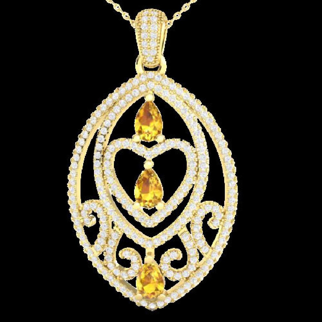3.50 CTW Yellow Sapphire & Micro VS/SI Diamond Heart