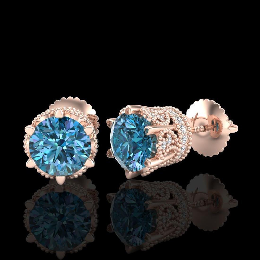 2.04 CTW Fancy Intense Blue Diamond Art Deco Stud - 2