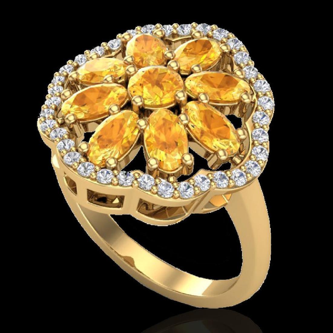 3 CTW Citrine & VS/SI Diamond Cluster Designer Halo