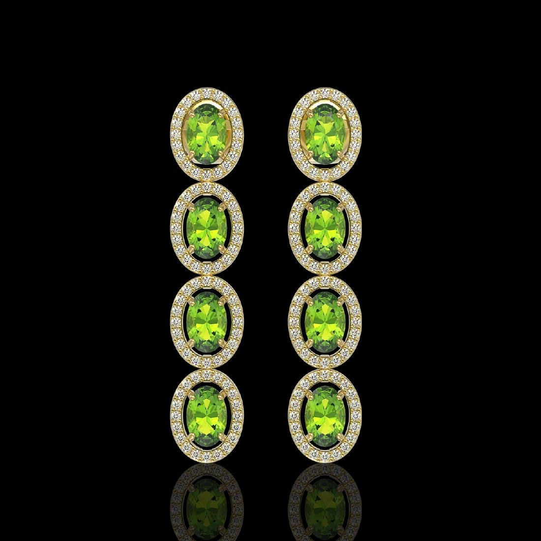 5.88 CTW Peridot & Diamond Halo Earrings 10K Yellow