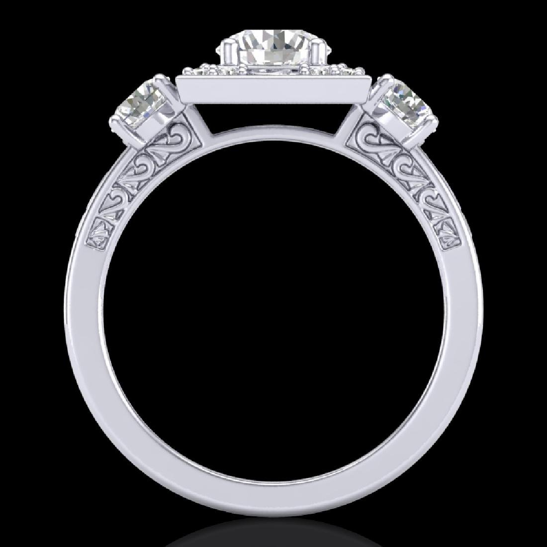 1.55 CTW VS/SI Diamond Solitaire Art Deco 3 Stone Ring