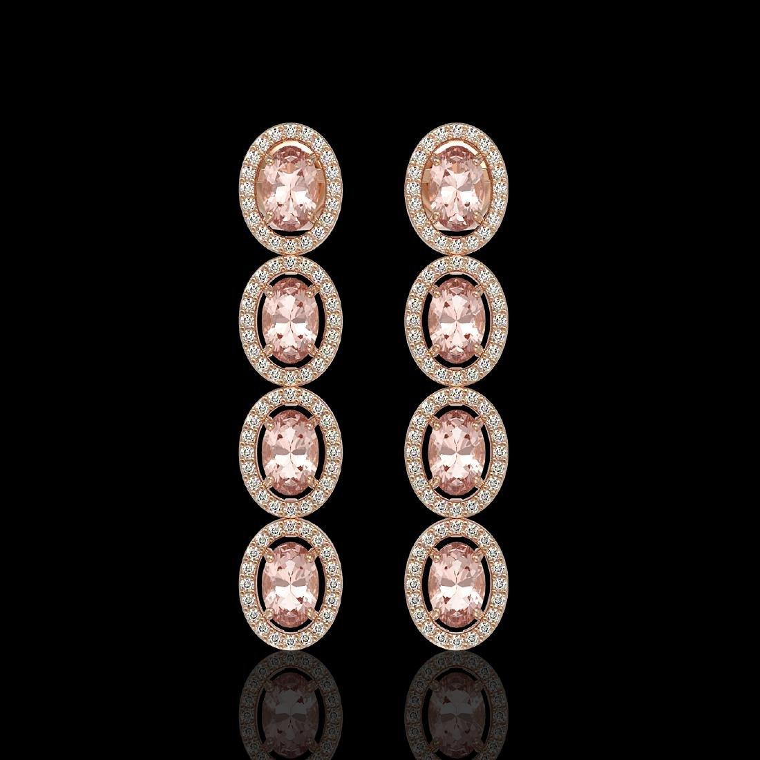6.09 CTW Morganite & Diamond Halo Earrings 10K Rose