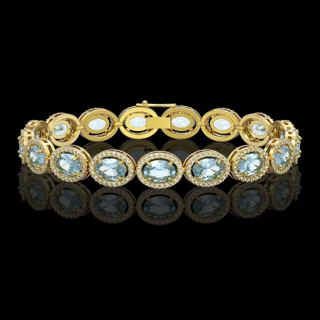 18.38 CTW Aquamarine & Diamond Halo Bracelet 10K Yellow