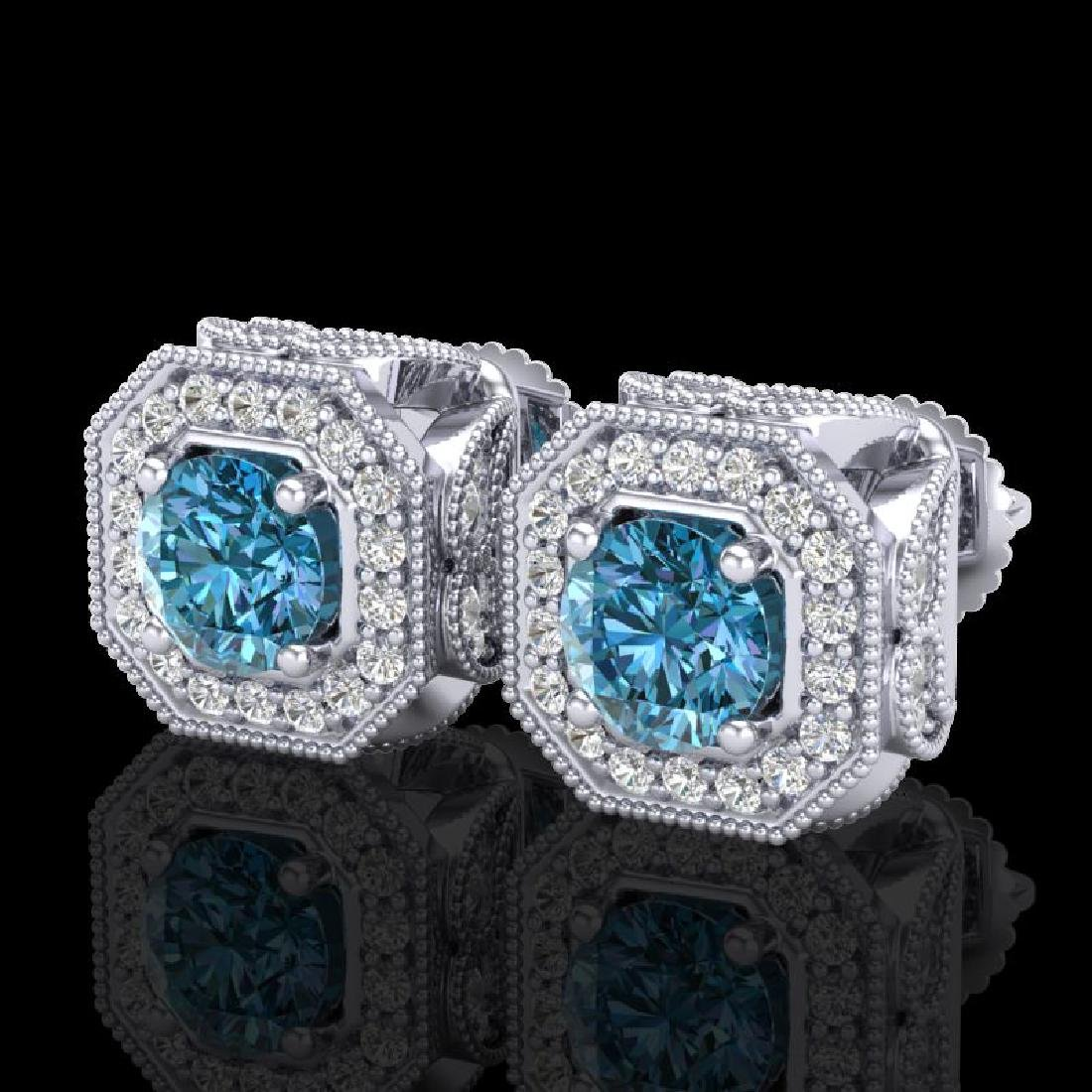2.75 CTW Fancy Intense Blue Diamond Art Deco Stud