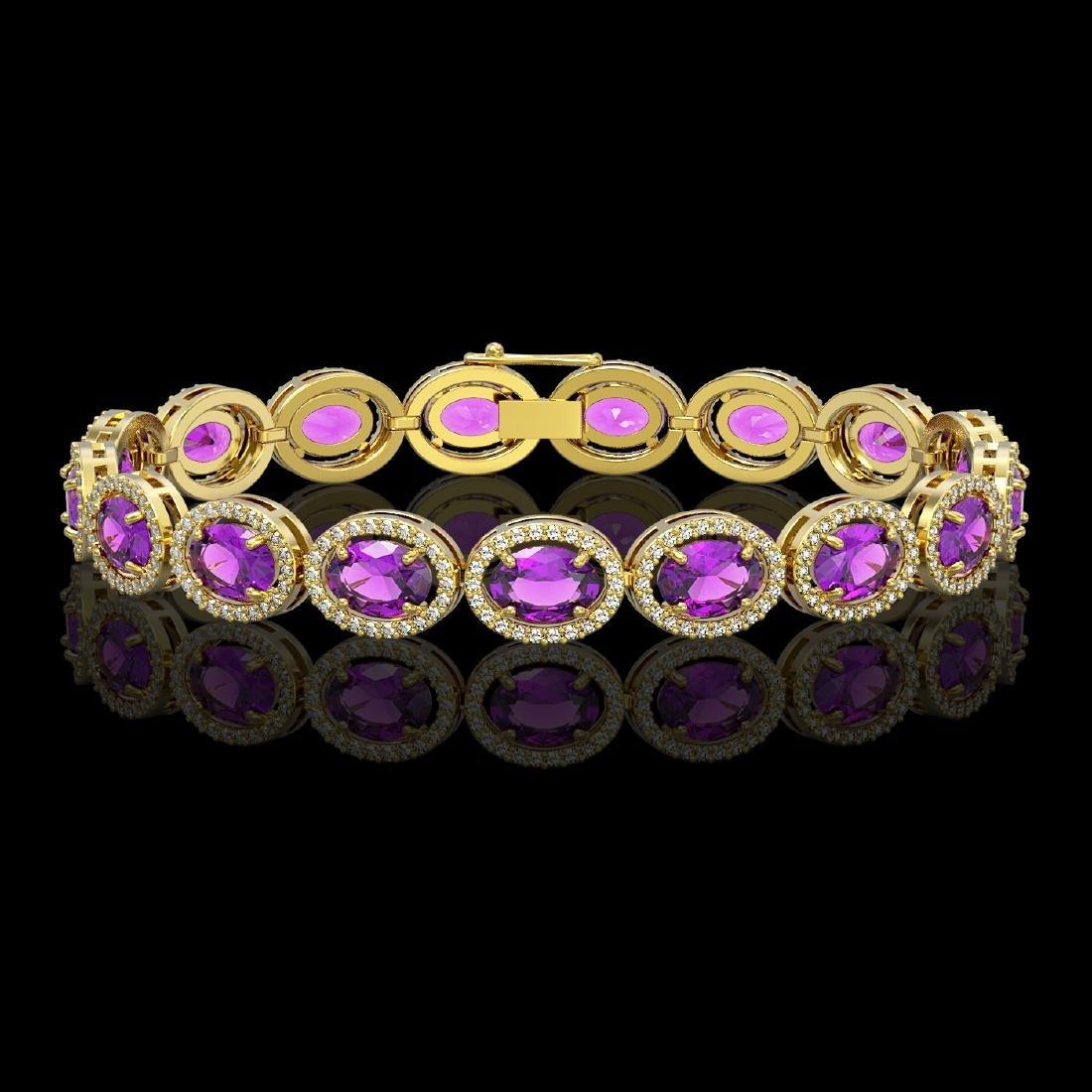 19.82 CTW Amethyst & Diamond Halo Bracelet 10K Yellow