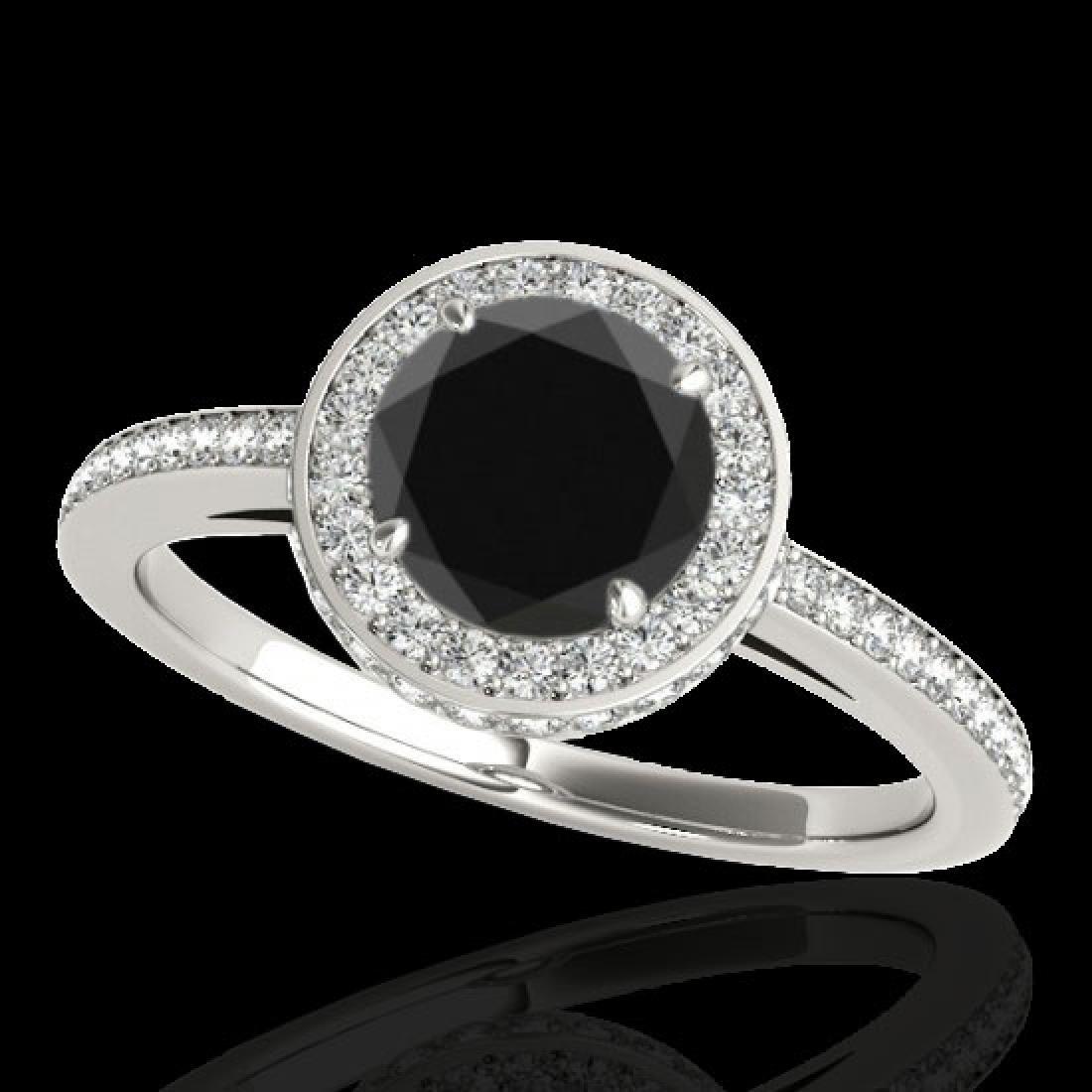 1.55 CTW Certified VS Black Diamond Solitaire Halo Ring