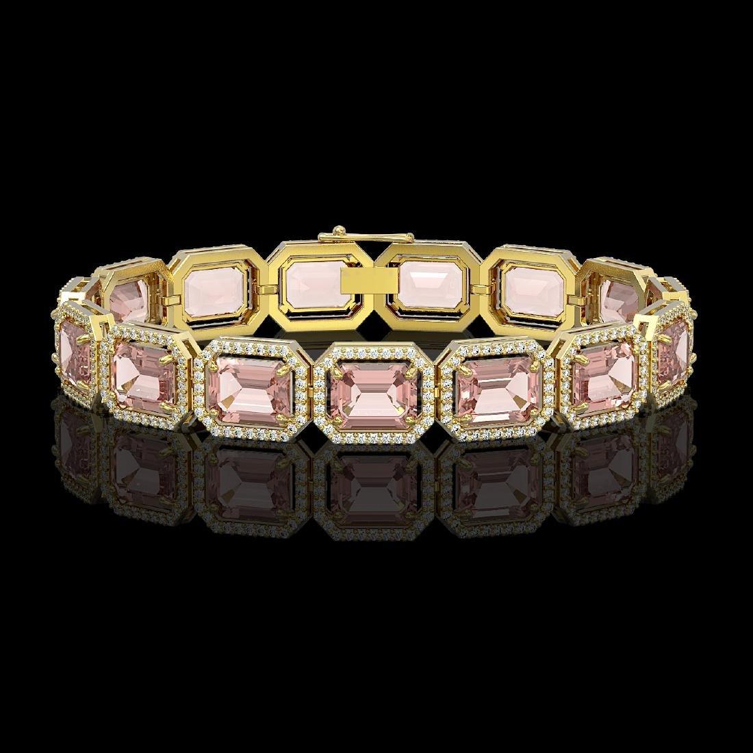 37.11 CTW Morganite & Diamond Halo Bracelet 10K Yellow