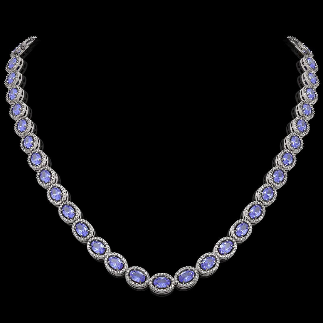 31.96 CTW Tanzanite & Diamond Halo Necklace 10K White