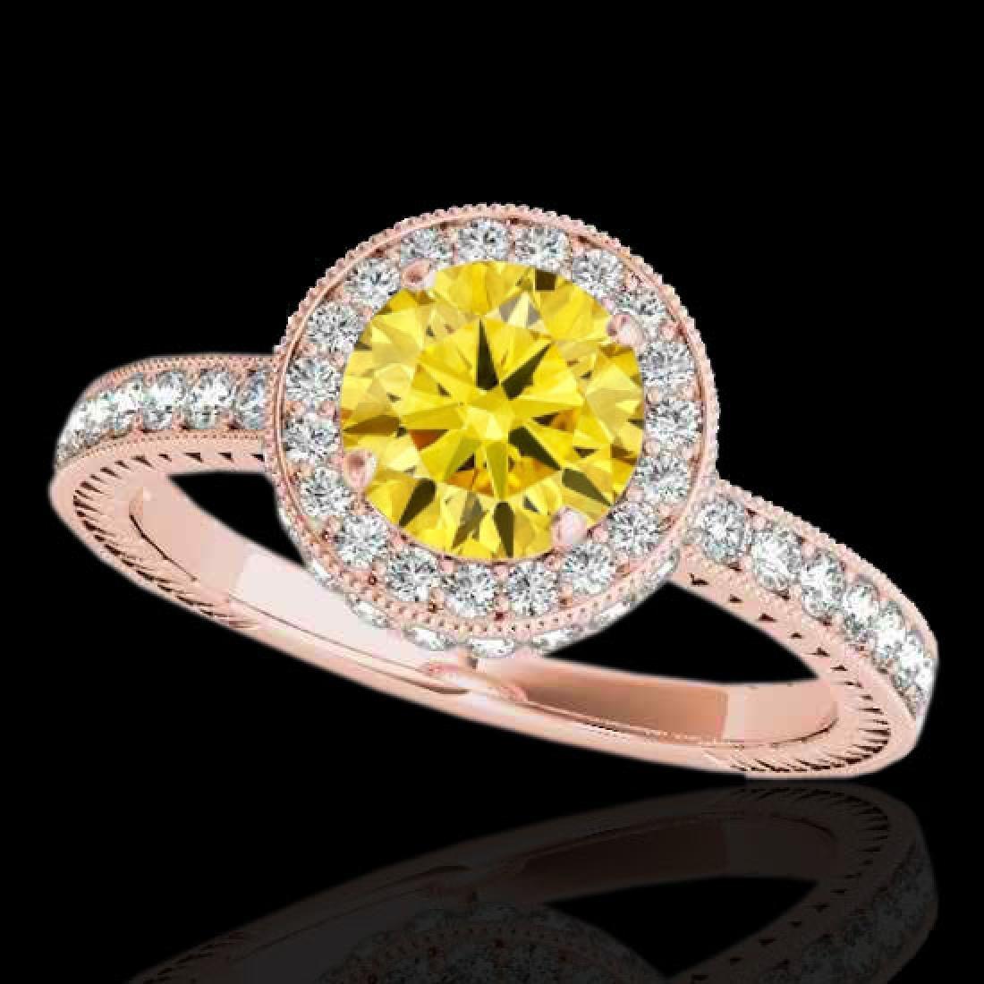 1.51 CTW Certified SI/I Fancy Intense Yellow Diamond