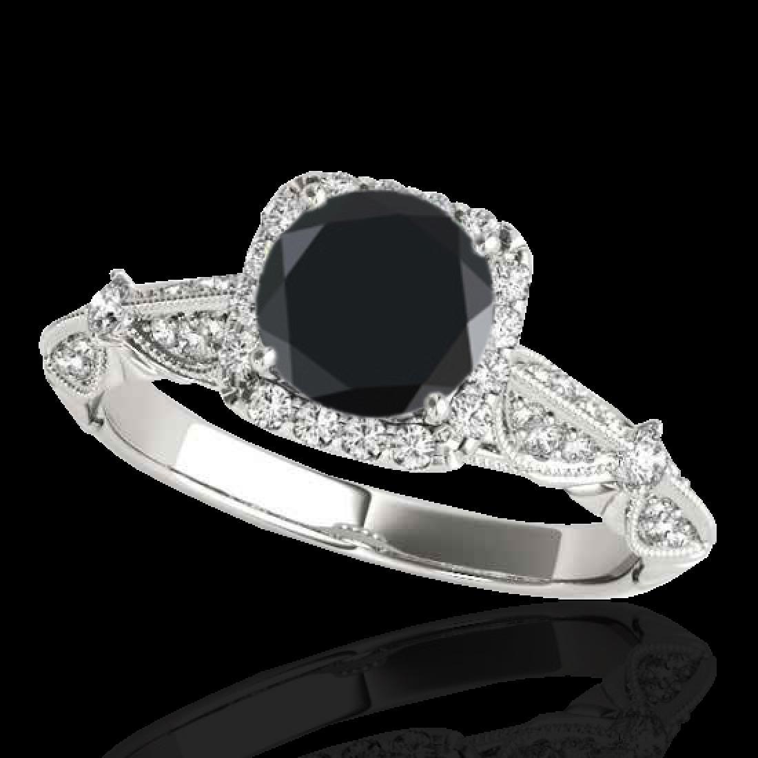1.36 CTW Certified VS Black Diamond Solitaire Halo Ring