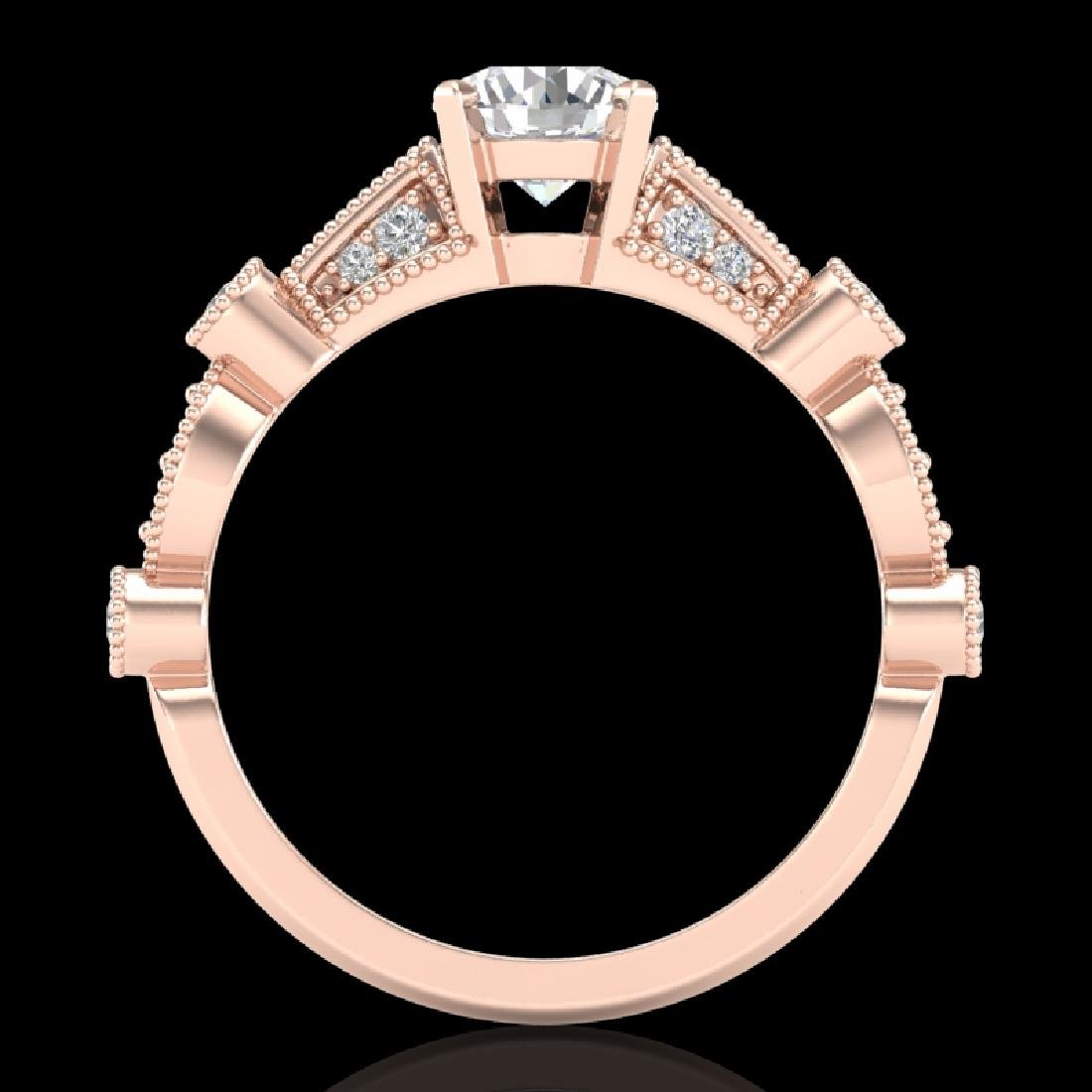 1.03 CTW VS/SI Diamond Solitaire Art Deco Ring 18K Rose