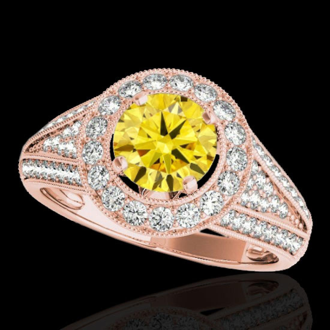 2.17 CTW Certified SI/I Fancy Intense Yellow Diamond
