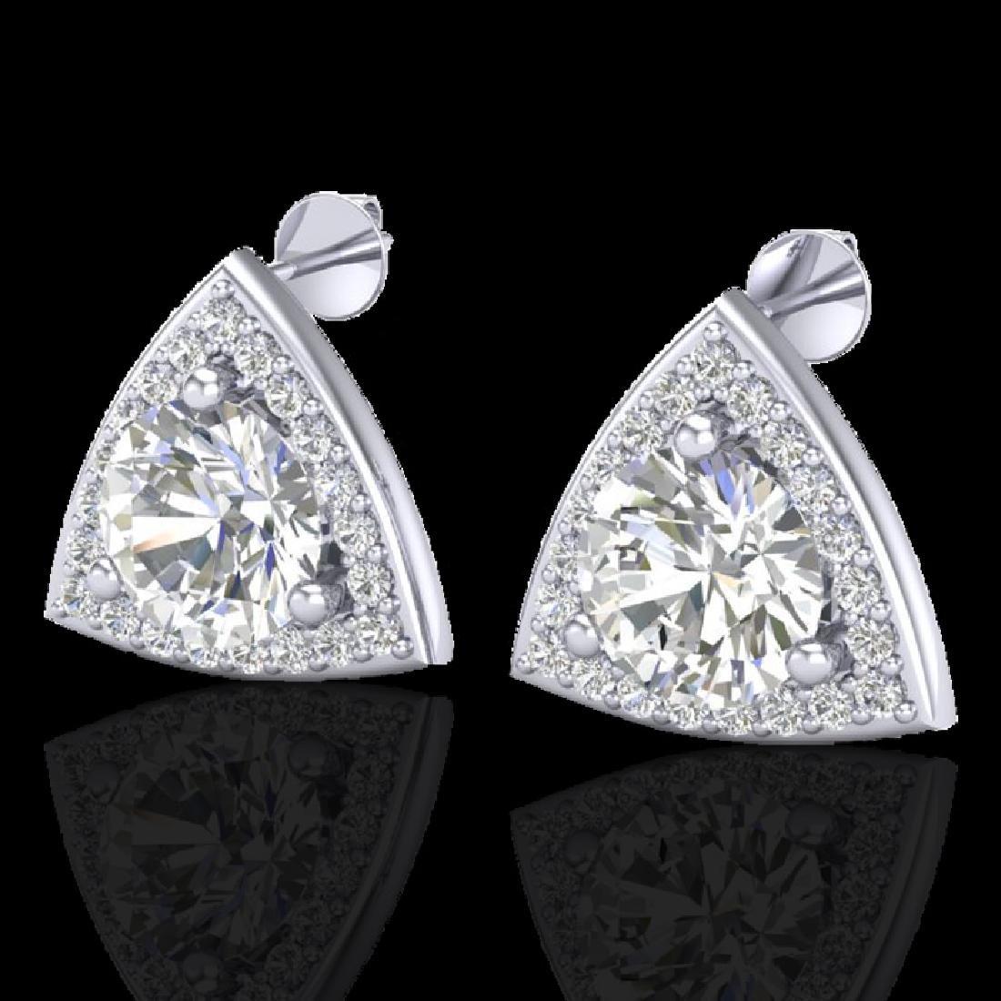 3 CTW Micro Pave Halo VS/SI Diamond Stud Earrings 18K