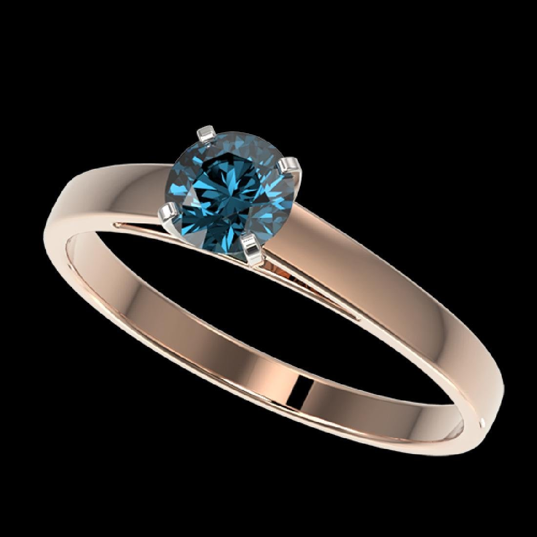 0.54 CTW Certified Intense Blue SI Diamond Solitaire