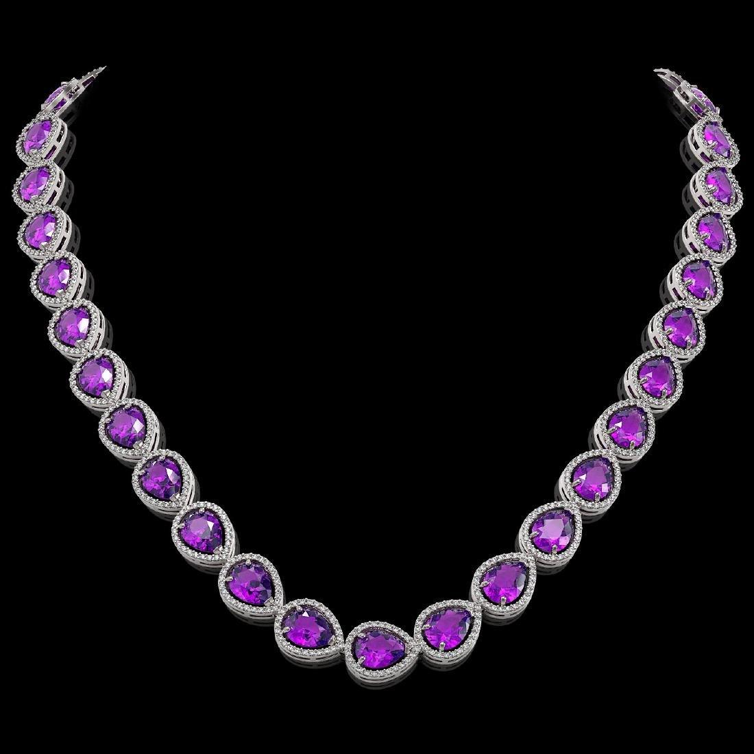 43.2 CTW Amethyst & Diamond Halo Necklace 10K White