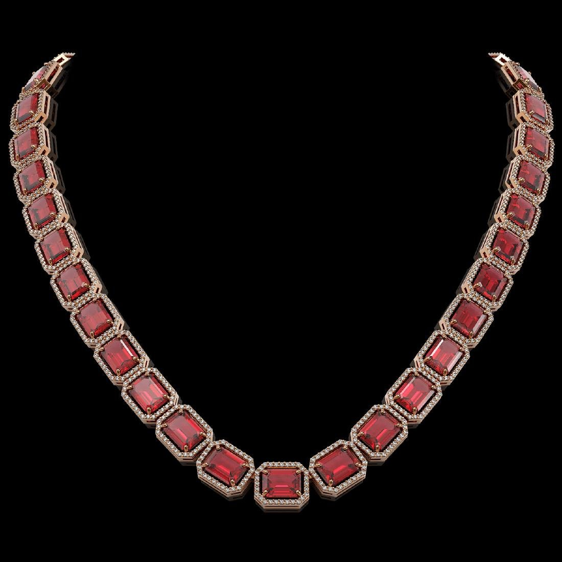 80.32 CTW Tourmaline & Diamond Halo Necklace 10K Rose