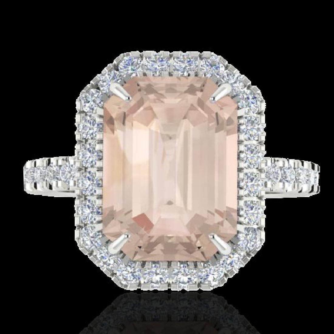 4.50 CTW Morganite & Micro Pave VS/SI Diamond Halo Ring