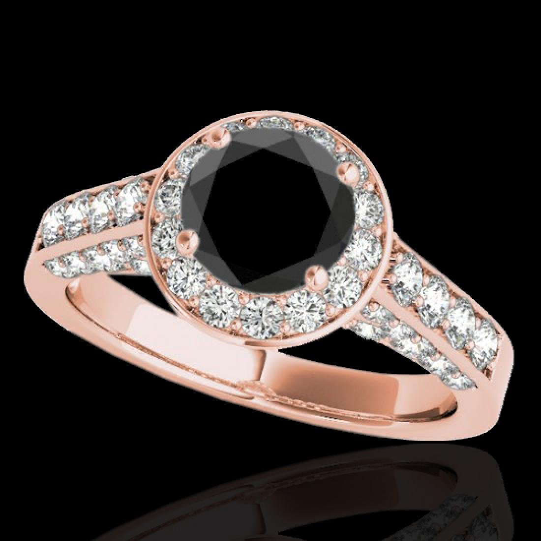 1.8 CTW Certified VS Black Diamond Solitaire Halo Ring