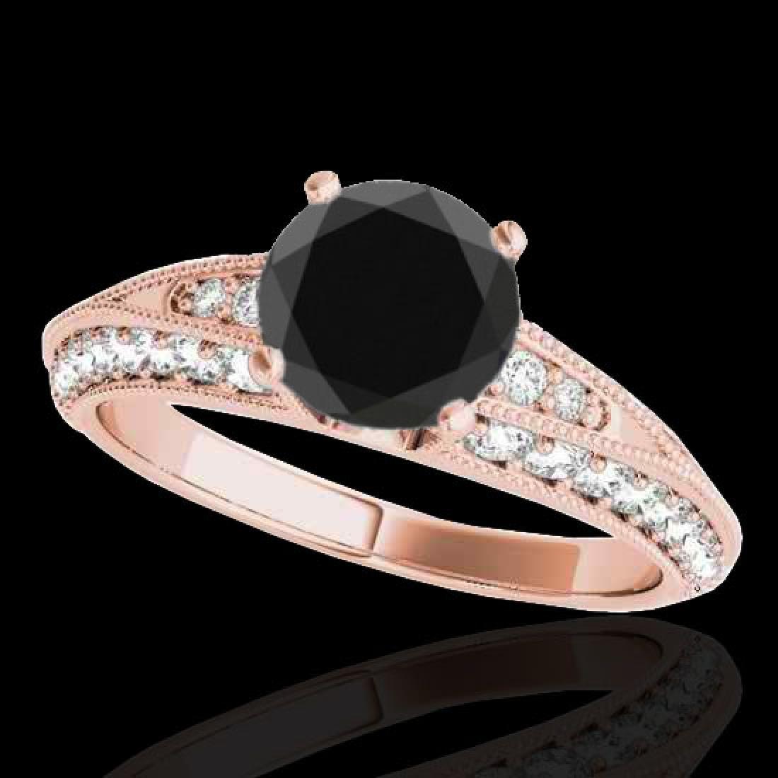 1.58 CTW Certified VS Black Diamond Solitaire Antique