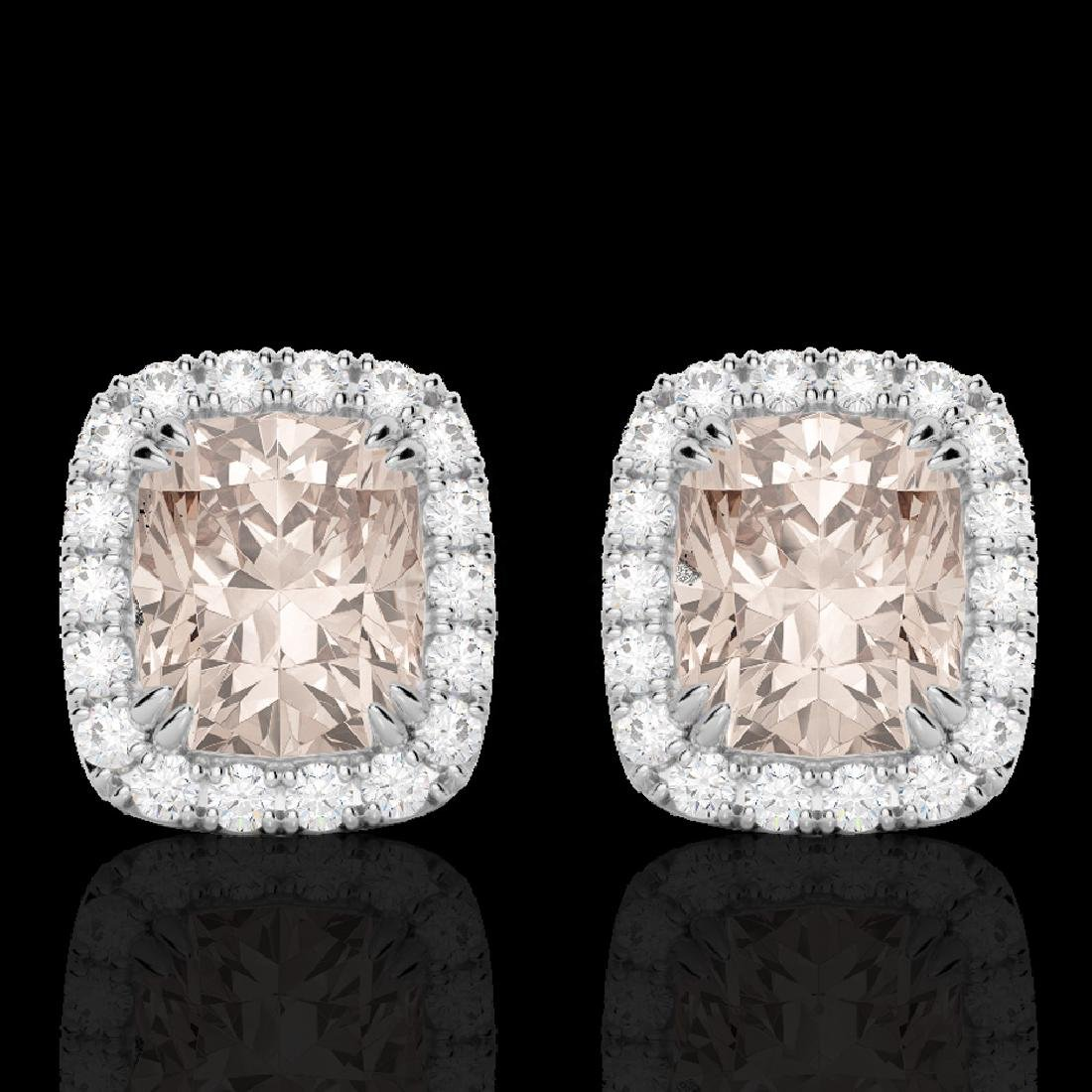2.50 CTW Morganite & Micro Pave VS/SI Diamond Halo