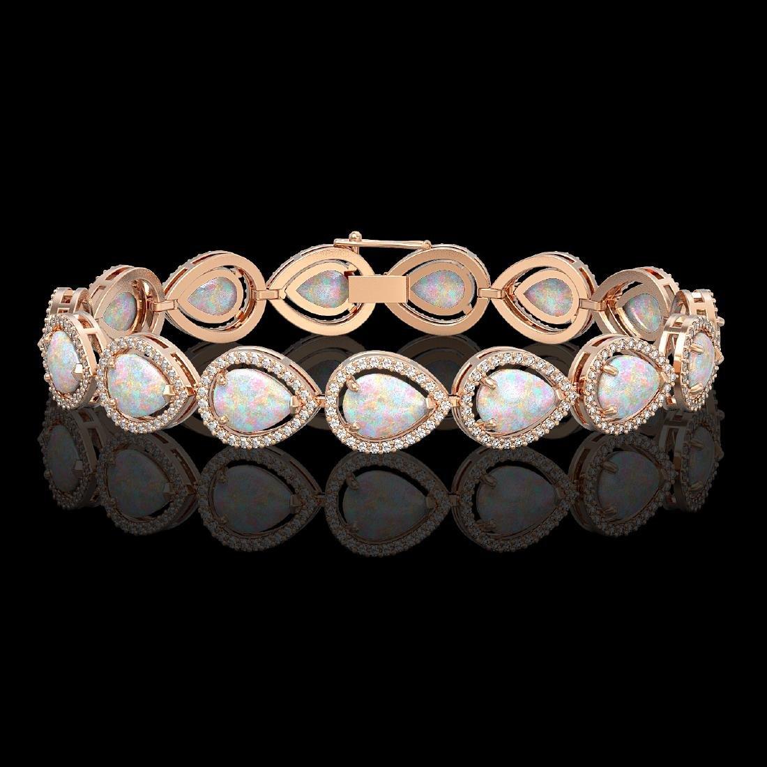 17.15 CTW Opal & Diamond Halo Bracelet 10K Rose Gold
