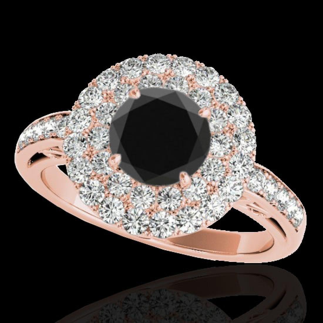 2.25 CTW Certified VS Black Diamond Solitaire Halo Ring