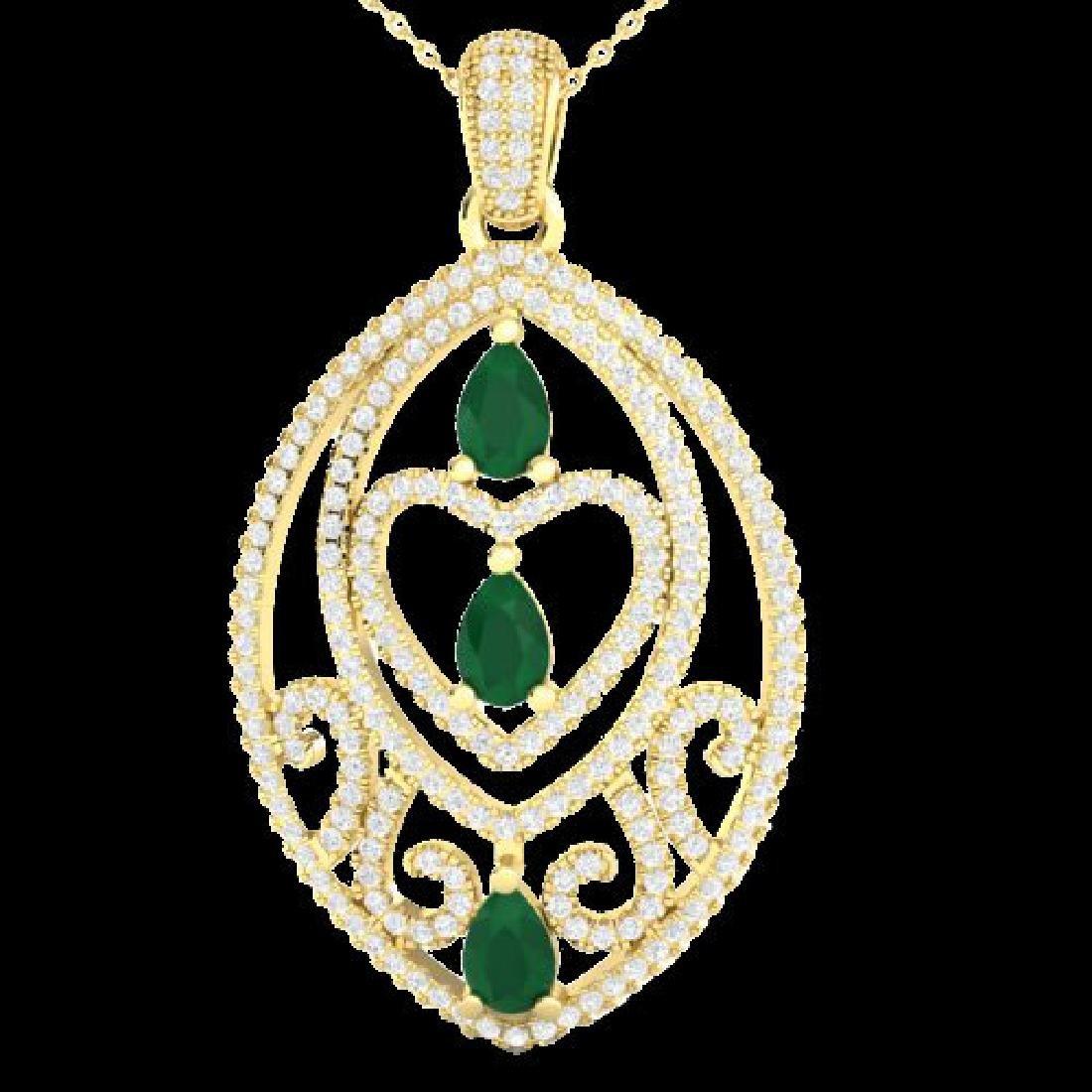 3.50 CTW Emerald & Micro Pave VS/SI Diamond Heart