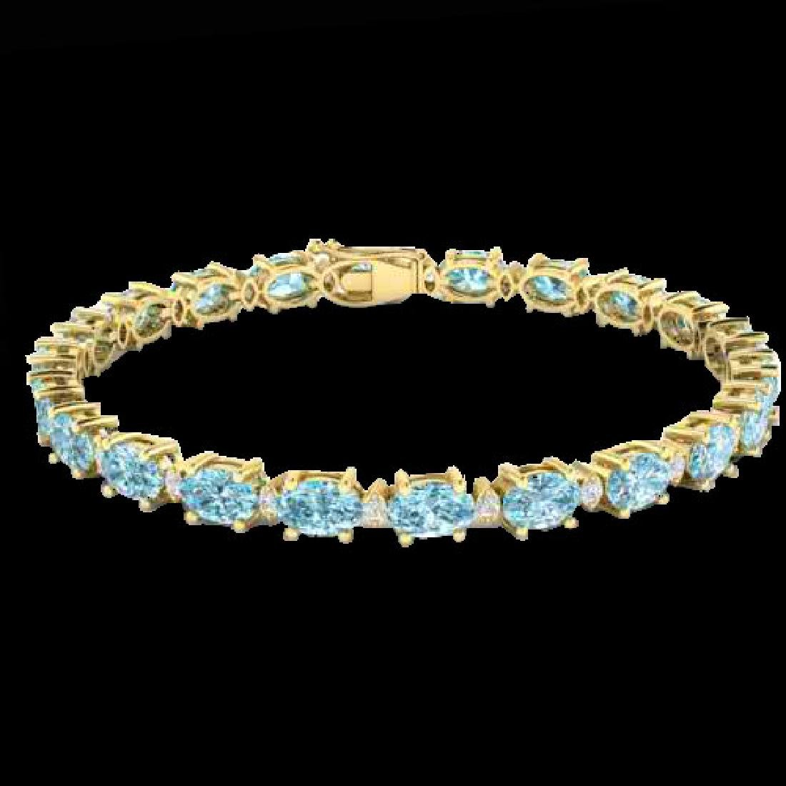 25.8 CTW Sky Blue Topaz & VS/SI Certified Diamond - 2