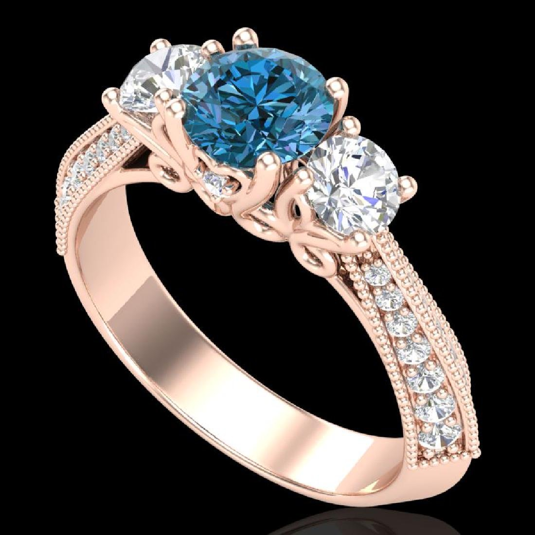 1.81 CTW Intense Blue Diamond Solitaire Art Deco 3